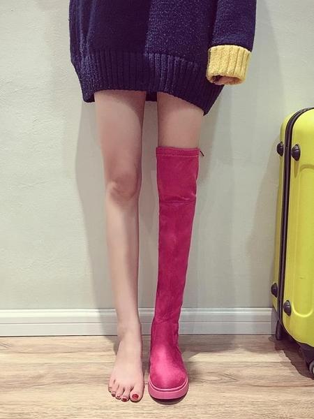 膝上靴膝上靴女春2020新款小辣椒顯瘦高筒時尚黑色平底秋冬季長筒靴子 童趣