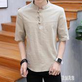 19棉麻t恤男裝中國風短袖男士盤扣五分袖上衣大碼亞麻T恤夏季寬鬆xy1198【原創風館】