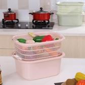 廚房用品洗水果果盤洗菜盆洗菜籃瀝水籃雙層家用歐式大號塑料籃子     汪喵百貨
