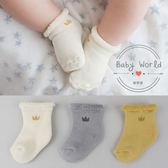 襪子 嬰兒 兒童 鬆口襪 毛巾 防滑 皇冠 毛圈襪 短襪 BW