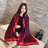 圍巾-韓版時尚格子加厚羊毛長披肩5色73pz36[巴黎精品]