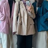 西裝外套-燈芯絨翻領寬鬆純色女休閒西服4色73xj12[巴黎精品]