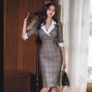 OL洋裝 女裝韓版氣質西裝領職業修身中長款時尚格子包臀連身裙  店慶降價