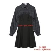 早秋季女裝背帶連身裙子時尚網紅兩件套裝港風復古【CH伊諾】