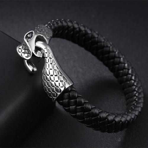 《 QBOX 》FASHION 飾品【L100N1138】精緻個性歐美霸氣蛇環扣316L鈦鋼真皮革手鍊/手環