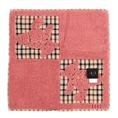 DAKS 格紋小熊圖騰LOGO刺繡小方巾(粉色)989114-32