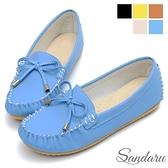 豆豆鞋 MIT真皮墊蝶結金飾莫卡辛鞋-藍