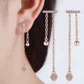 耳環 唯美奢華雙直線垂墜鋯石玫瑰金 925銀針 耳環