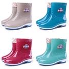 雨鞋 四季雨鞋女短筒成人加絨雨靴時尚防水鞋女士防滑中筒膠鞋套鞋保暖 快速發貨