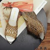 魚嘴高跟厚底拖鞋女外穿塑料水晶涼拖女鞋