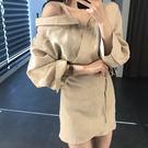 Qmigirl 一片式繫帶顯瘦連身裙 露肩吊帶長袖短版洋裝【T677】