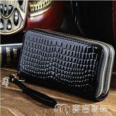 新款韓版雙拉鍊女士長款大容量錢包女漆皮零錢包手機包多功能     麥吉良品