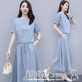 兩件式 棉麻連身裙女2020年夏季新款氣質遮肚子顯瘦亞麻套裝裙子夏天長裙 小宅女