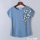 純棉短袖t恤女中年媽媽夏裝半袖2020新款寬鬆竹節棉體恤全棉上衣