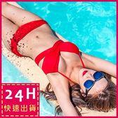 梨卡★現貨 - 多穿法 [ 集中爆乳鋼圈 ] 泳衣比基尼 - 6種穿法韓國廣告款百變多WAY泳裝Q311