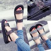 韓版平底女鞋厚底chic羅馬女涼鞋魔術貼百搭學生鬆糕鞋「尚美潮流閣」