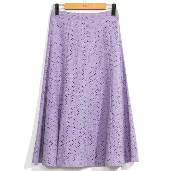 H2O 夏 棉蕾絲刺繡多片裙剪接波浪中長裙 - 紫/米/粉色 #1672020