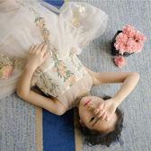 童刺繡女童吊帶背心裙童無袖連身裙蓬蓬裙公主紗裙吾本良品