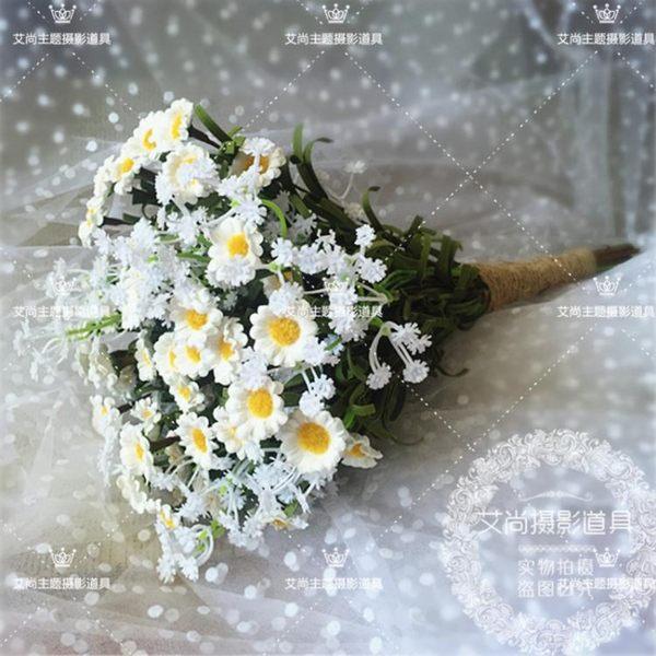 森系清新白色小雛菊 外景婚紗拍照攝影道具 滿天星手捧花韓式旅拍【蘇迪蔓】