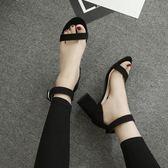 韓版粗跟高跟鞋 絨面圓頭鏤空露趾涼鞋子《小師妹》sm99