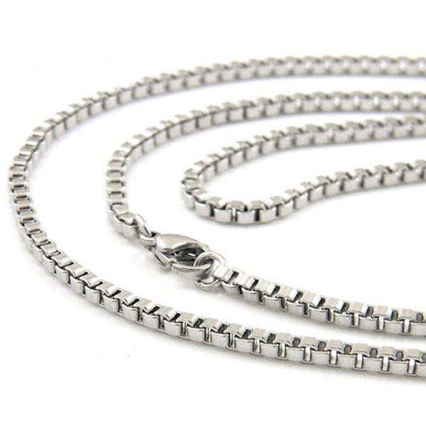 316L醫療鋼項鍊 3mm方塊盒子鏈純鏈子-銀 防抗過敏 不退色