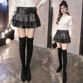 超短裙 韓版PU皮蕾絲拼接半身裙性感百褶蓬蓬裙A字裙「Chic七色堇」