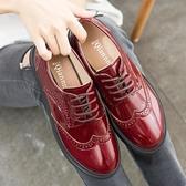 牛津鞋 紳士鞋 英倫風漆皮布洛克軟底中跟坡跟松糕厚底大碼復古單鞋潮流女鞋子《小師妹》sm4992