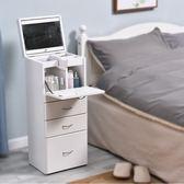 梳妝台臥室小戶型現代簡約實木經濟型公主簡易小型翻蓋迷你化妝櫃   HM