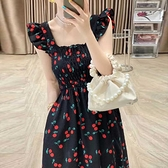 無袖洋裝 法式櫻桃洋裝女夏季新款無袖收腰顯瘦白色又甜又辣森系初戀裙子【快速出貨】