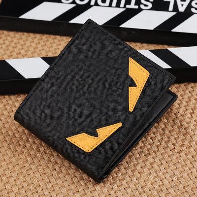 男士小怪獸短款錢包   日韓青年卡通橫款薄錢夾   個性簡約時尚潮短夾  商務休閒錢包