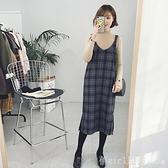 無袖洋裝 2020新款韓版顯瘦百搭中長款毛呢格子吊帶長裙洋裝學生背帶裙女 開春特惠
