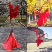 新款涼涼古典舞蹈服成人飄逸漢服女現代改良水袖齊胸襦裙寫真古裝 千惠衣屋