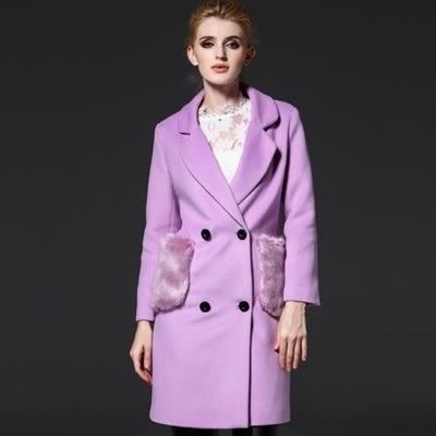 毛呢大衣-長版拼接絨毛口袋純色女風衣外套73ir38【時尚巴黎】