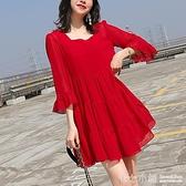 大碼洋裝~ 大碼女裝2020春夏新款超仙紅色洋裝女胖妹妹寬鬆藏肉短裙200斤