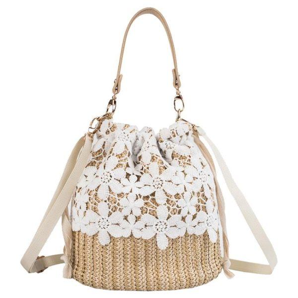 水桶包 高級感小包包韓版夏季蕾絲編織單肩包時尚洋氣水桶包 巴黎春天
