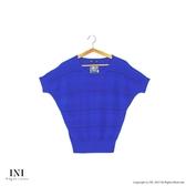 漢神獨家【INI】優雅質感、專櫃橫條細膩針織上衣.藍色