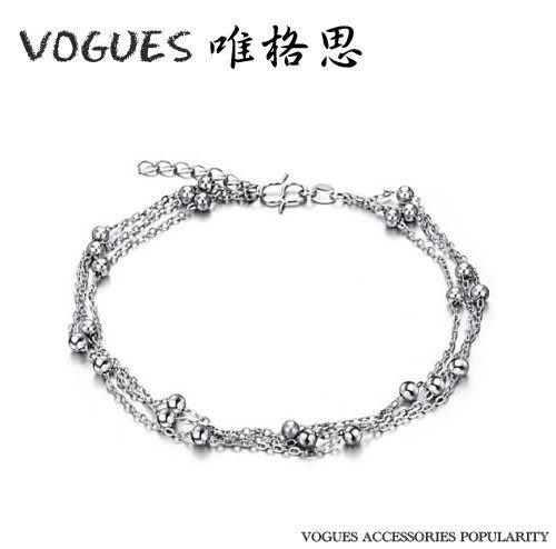 串珠造型精緻電鍍K金腳鍊   情人節禮物 【Vogues唯格思】F003