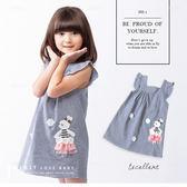 純棉 珍珠花朵拼布兔子荷葉袖小洋裝 背心洋裝 格紋 深藍 棉麻 長版上衣 女童 哎北比童裝