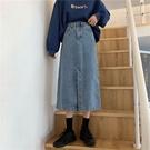 裙子學生開叉牛仔半身裙秋冬女裙子年新款高腰顯瘦百搭a字中長裙