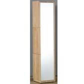 【森可家居】艾麗斯1 尺立式角落鏡台櫃橡木紋3 號單只7JF111 6 全身化妝鏡收納櫃