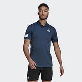 ADIDAS CLUB 3STR 男款藍色排汗POLO短袖上衣 -NO.GL5458