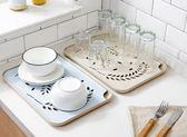 塑料雙層水杯瀝水盤子客廳水果盤茶盤『米菲良品』