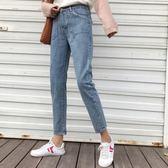 新款高腰雙口袋修身九分褲子學生顯瘦牛仔褲潮直筒褲女裝 衣櫥秘密