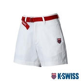 K-SWISS Cotton Twill Shorts W/belt棉質休閒短褲-女-白