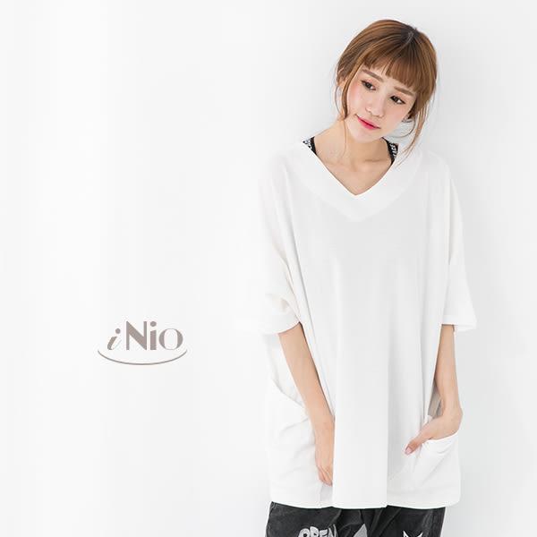 兩側大口袋寬鬆版純色造型棉T造型上衣(S-L適穿)★  現貨快出【T7W1078】 iNio 衣著美學