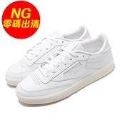 【US6-NG出清】Reebok 休閒鞋 Club C 85 白 米白 女鞋 左腳中底鞋底色差 運動鞋【ACS】