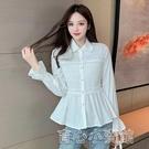 襯衫 「溫柔女士」2021春法式花邊娃娃領襯衫設計感小眾上衣 16育心