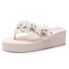新款海邊花朵厚底涼拖鞋