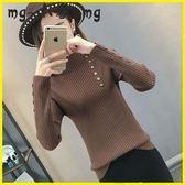 毛衣-半高領毛衣套頭韓版修身長袖打底衫緊身針織衫