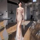 宴會晚禮服裙女新款高貴性感氣質魚尾長款高端 【母親節特惠】